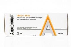 Амоксиклав, пор. д/р-ра для в/в введ. 1000 мг+200 мг №5