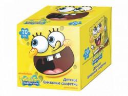 Салфетки бумажные, Губка Боб двухслойные в кубе №70